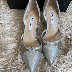 Nina Blythe silver heels